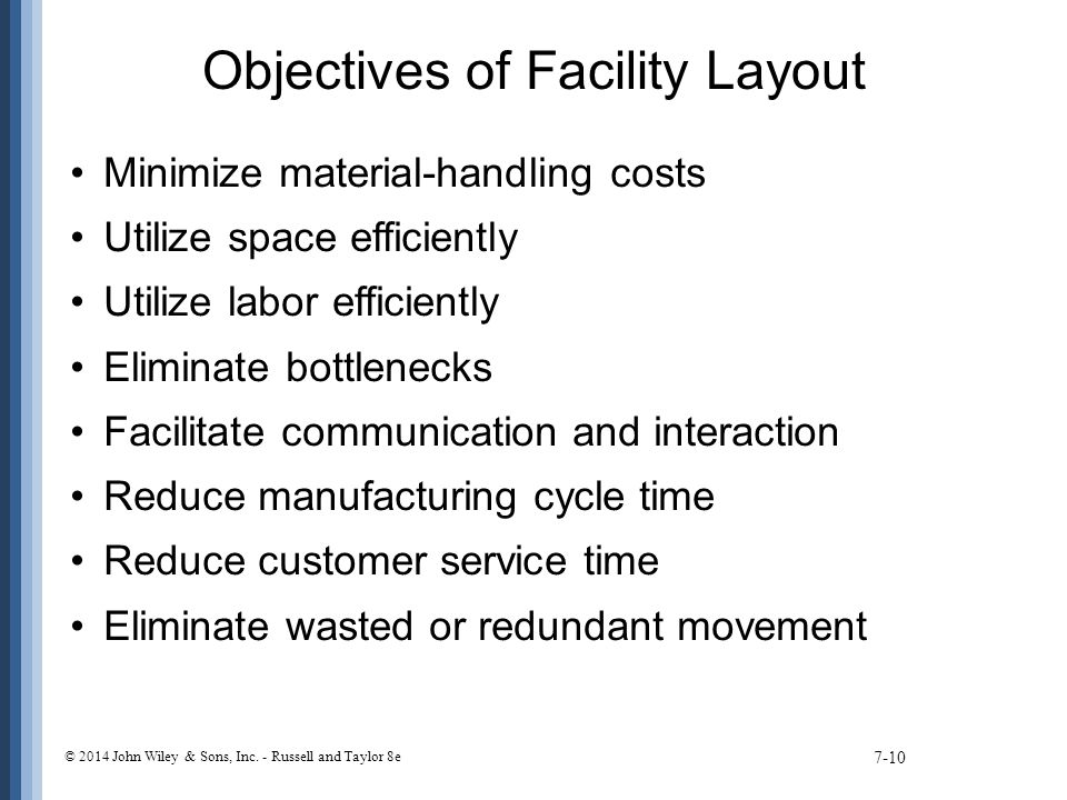 Objectives of Facility Layout Minimize material-handling costs Utilize space efficiently Utilize labor efficiently Eliminate bottlenecks Facilitate communication and interaction Reduce manufacturing cycle time Reduce customer service time Eliminate wasted or redundant movement 7-10 © 2014 John Wiley & Sons, Inc.