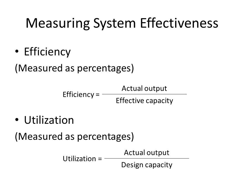 Measuring System Effectiveness Efficiency (Measured as percentages) Utilization (Measured as percentages) Efficiency = Actual output Effective capacity Utilization = Actual output Design capacity