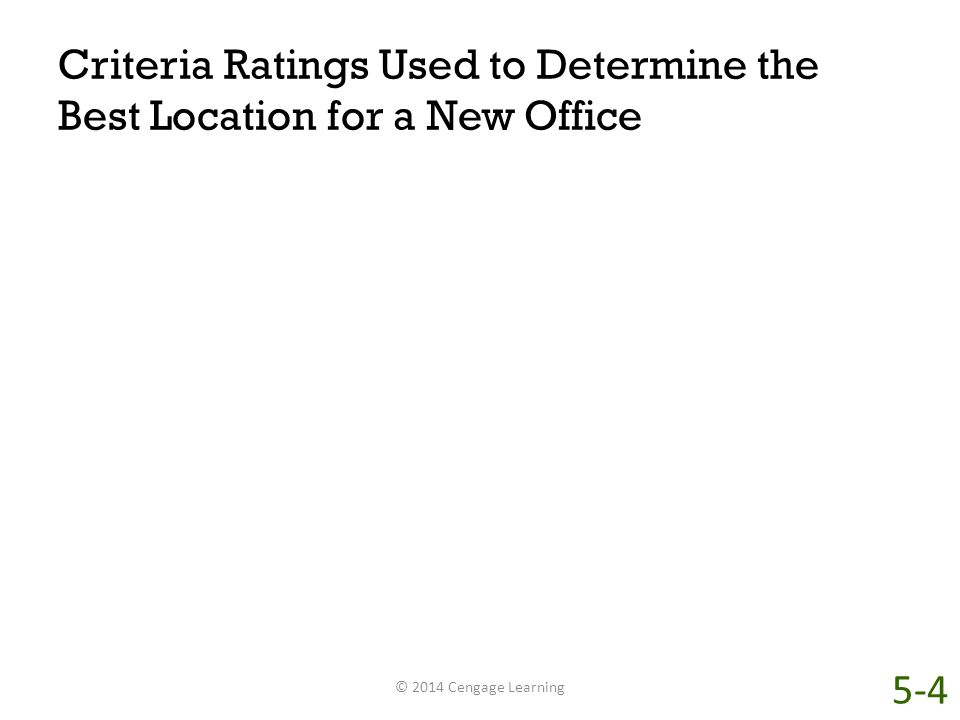 Criteria Ratings Used to Determine the Best Location for a New Office © 2014 Cengage Learning 5-4