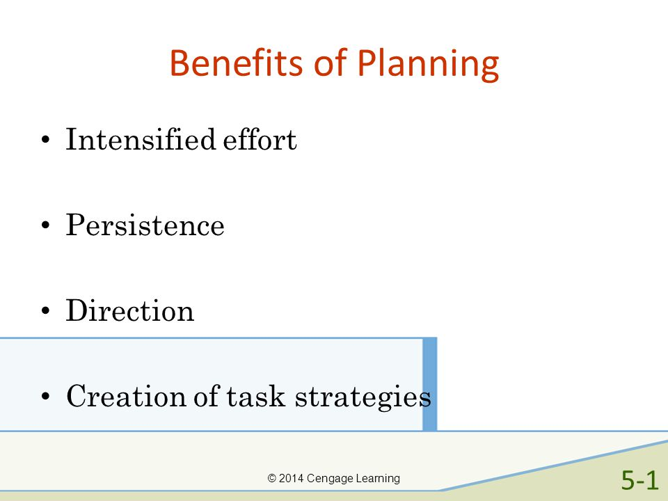 Benefits of Planning Intensified effort Persistence Direction Creation of task strategies © 2014 Cengage Learning 5-1