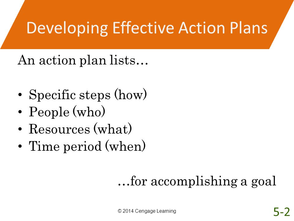 Developing Effective Action Plans An action plan lists… Specific steps (how) People (who) Resources (what) Time period (when) …for accomplishing a goa