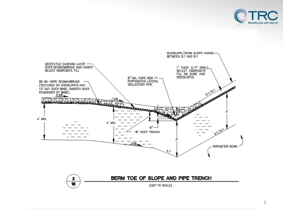 Maximum clean-out length may not exceed 2,000 feet (NR 504.06(6)) Minimum 0.5% slope after accounting for primary and secondary settlement (100 yr) Similar bedding material requirements Utilize sweep bends (minimum radius of 10 pipe diameters) 19 Extended Length Leachate Collection Line Considerations