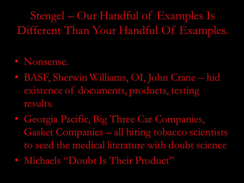 Stengel – Our Handful of Examples Is Different Than Your Handful Of Examples.