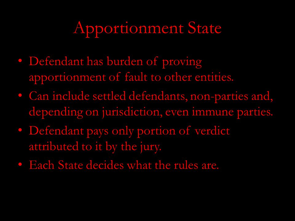 Apportionment State Defendant has burden of proving apportionment of fault to other entities.