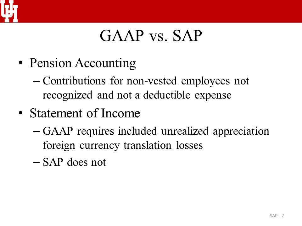 GAAP vs. SAP Pension Accounting – Contributions for non-vested employees not recognized and not a deductible expense Statement of Income – GAAP requir