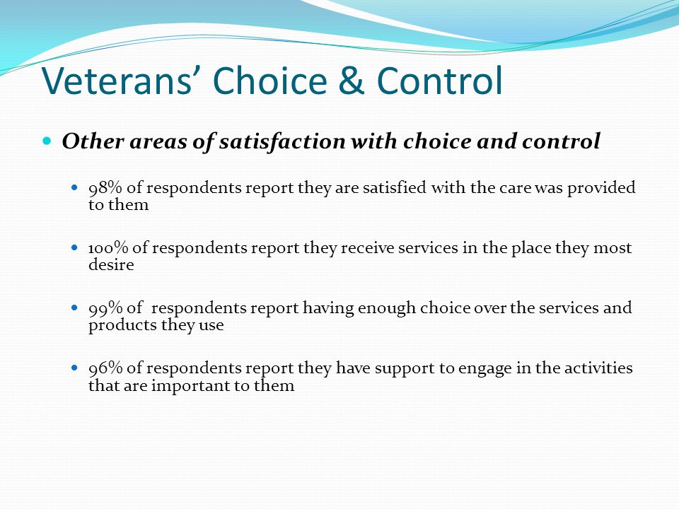 Veterans' Choice & Control Other areas of satisfaction with choice and control 98% of respondents report they are satisfied with the care was provided to them 100% of respondents report they receive services in the place they most desire 99% of respondents report having enough choice over the services and products they use 96% of respondents report they have support to engage in the activities that are important to them