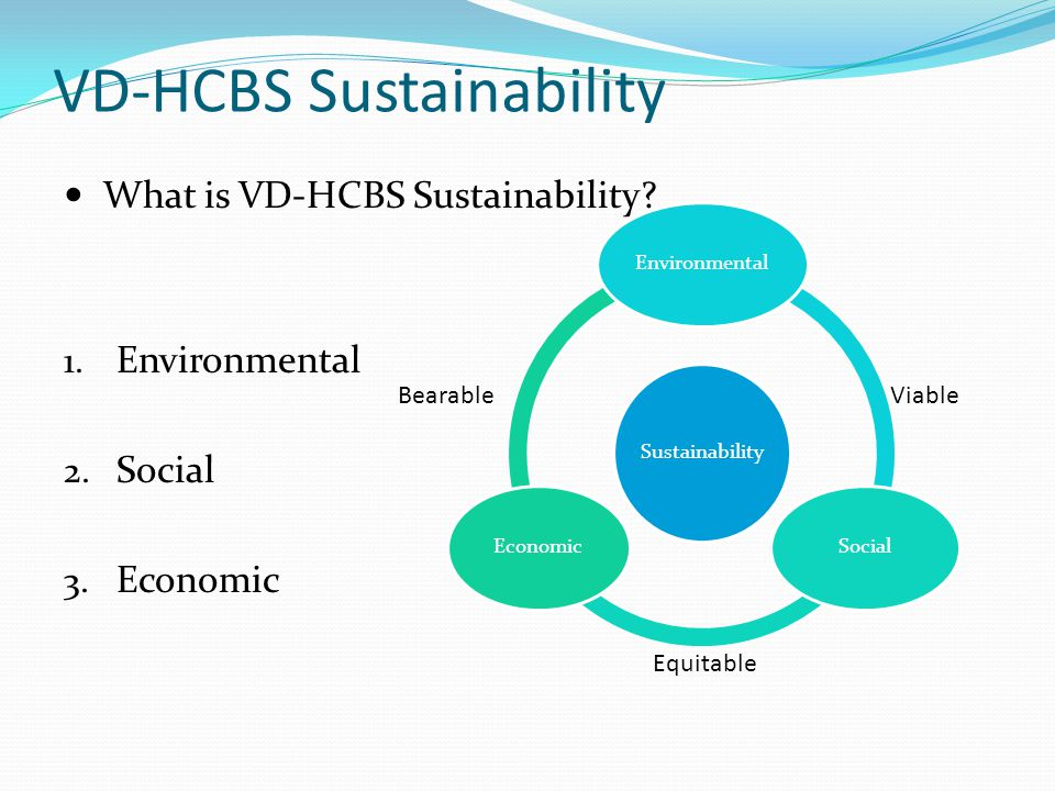 VD-HCBS Sustainability What is VD-HCBS Sustainability.