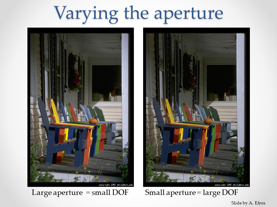 Varying the aperture Large aperture = small DOFSmall aperture = large DOF Slide by A. Efros