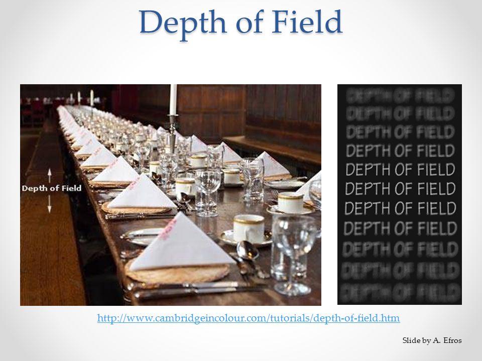 Depth of Field http://www.cambridgeincolour.com/tutorials/depth-of-field.htm Slide by A. Efros