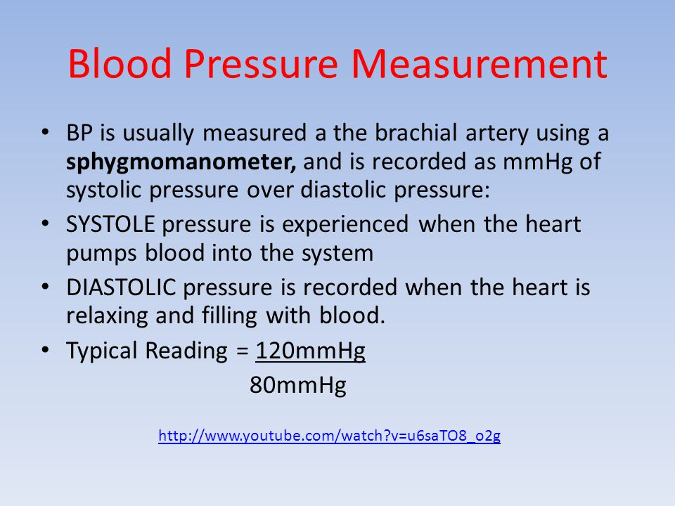Blood Pressure Measurement BP is usually measured a the brachial artery using a sphygmomanometer, and is recorded as mmHg of systolic pressure over di