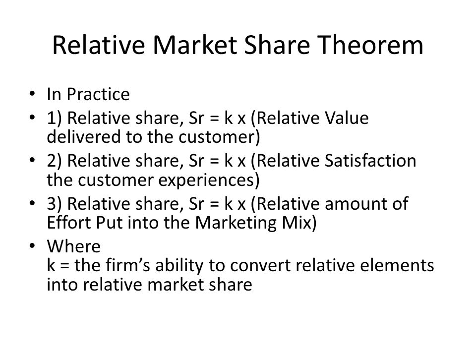 Relative Market Share Theorem In Practice 1) Relative share, Sr = k x (Relative Value delivered to the customer) 2) Relative share, Sr = k x (Relative Satisfaction the customer experiences) 3) Relative share, Sr = k x (Relative amount of Effort Put into the Marketing Mix) Where k = the firm's ability to convert relative elements into relative market share