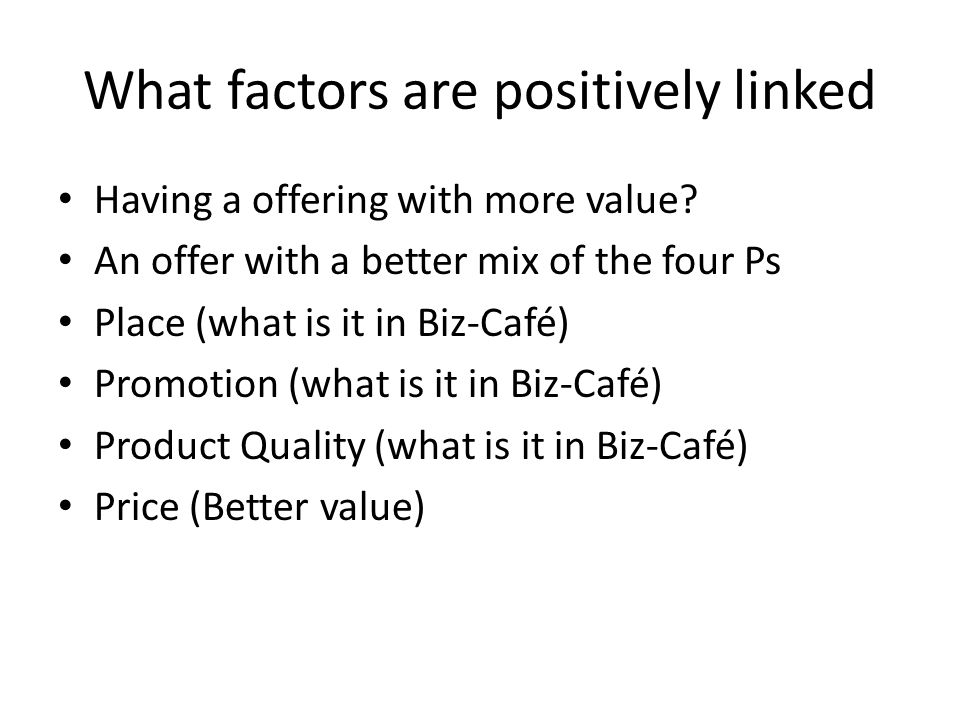 Exam Question #5 You have made some modifications to your marketing mix in Biz-Café and your offering has the following attributes: Relative Advertising is 80% of average Relative Store Hours is 110% of average Relative Product quality is 140% of average Relative number of server is 90% of average Relative price is 90% of average What is the predicted relative share?