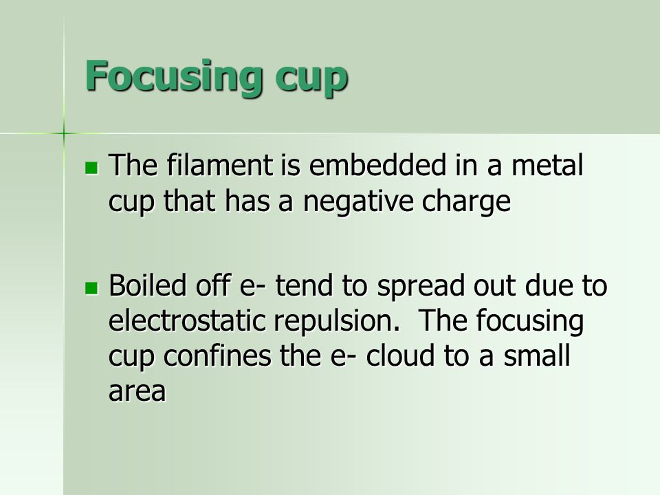 Focusing cup The filament is embedded in a metal cup that has a negative charge The filament is embedded in a metal cup that has a negative charge Boi