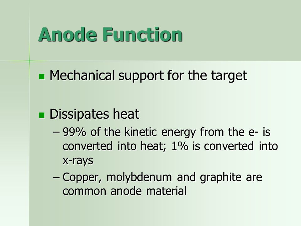 Anode Function Mechanical support for the target Mechanical support for the target Dissipates heat Dissipates heat –99% of the kinetic energy from the