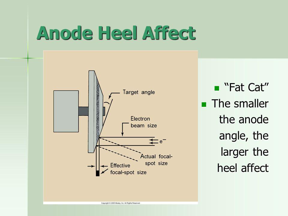 """Anode Heel Affect """"Fat Cat"""" """"Fat Cat"""" The smaller The smaller the anode angle, the larger the heel affect"""