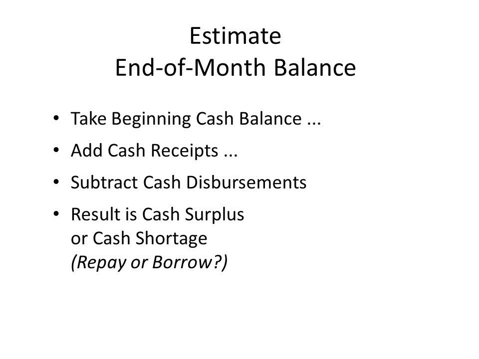Estimate End-of-Month Balance Take Beginning Cash Balance...