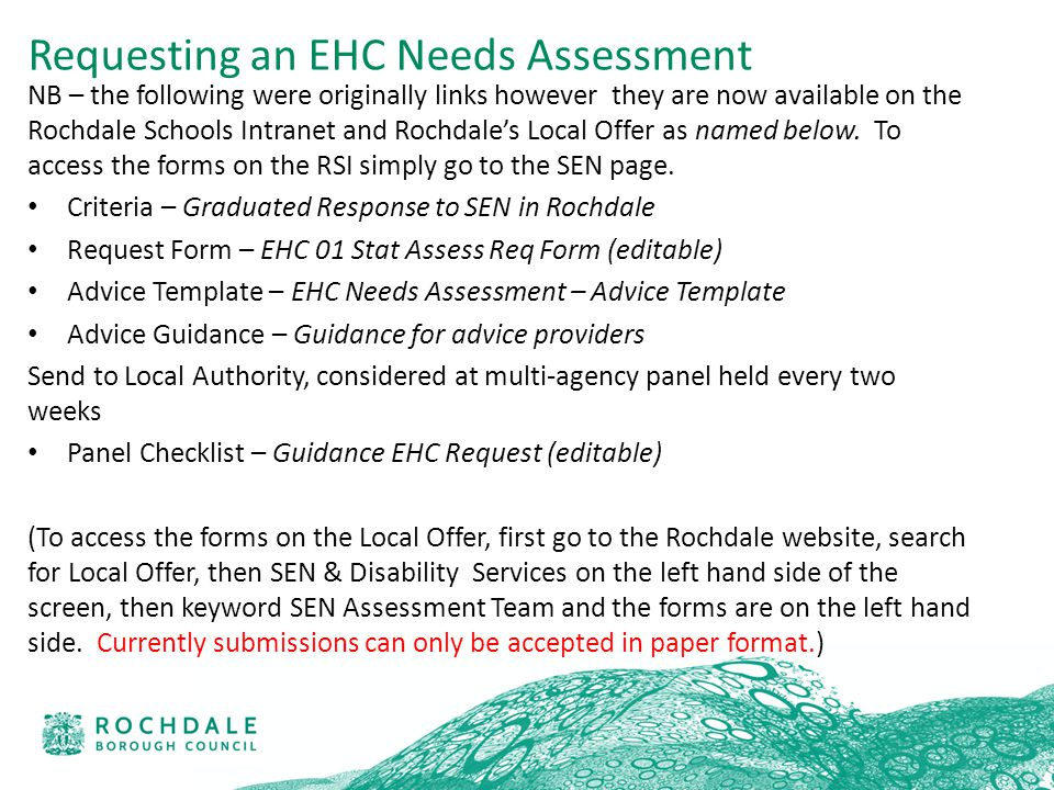 NB – the following were originally links however they are now available on the Rochdale Schools Intranet and Rochdale's Local Offer as named below.