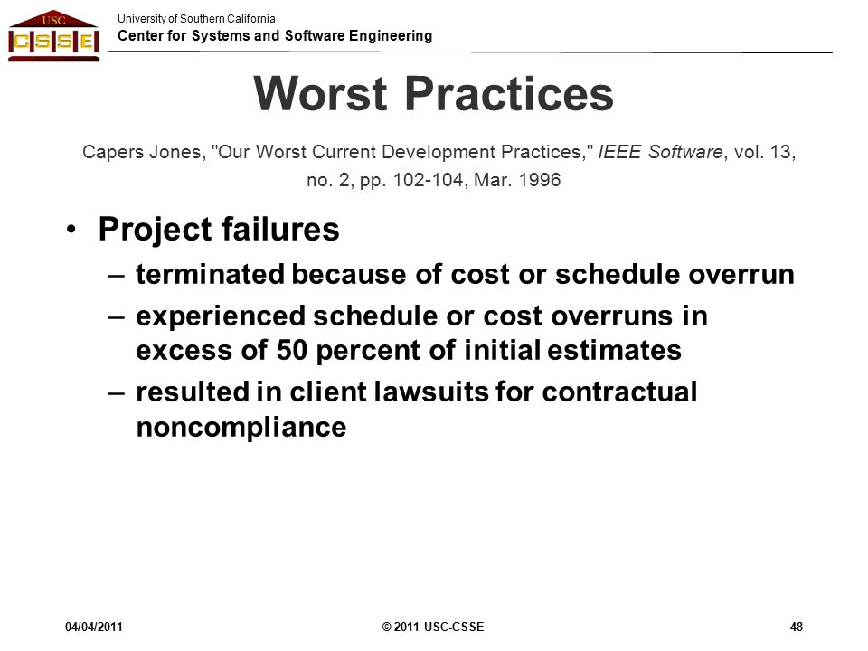 University of Southern California Center for Systems and Software Engineering Worst Practices Capers Jones, Our Worst Current Development Practices, IEEE Software, vol.