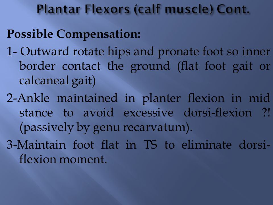 Possible Compensation: 1- Outward rotate hips and pronate foot so inner border contact the ground (flat foot gait or calcaneal gait) 2-Ankle maintaine