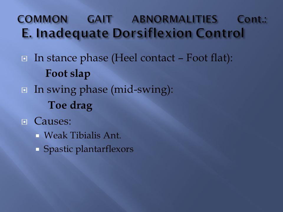  In stance phase (Heel contact – Foot flat): Foot slap  In swing phase (mid-swing): Toe drag  Causes:  Weak Tibialis Ant.  Spastic plantarflexors