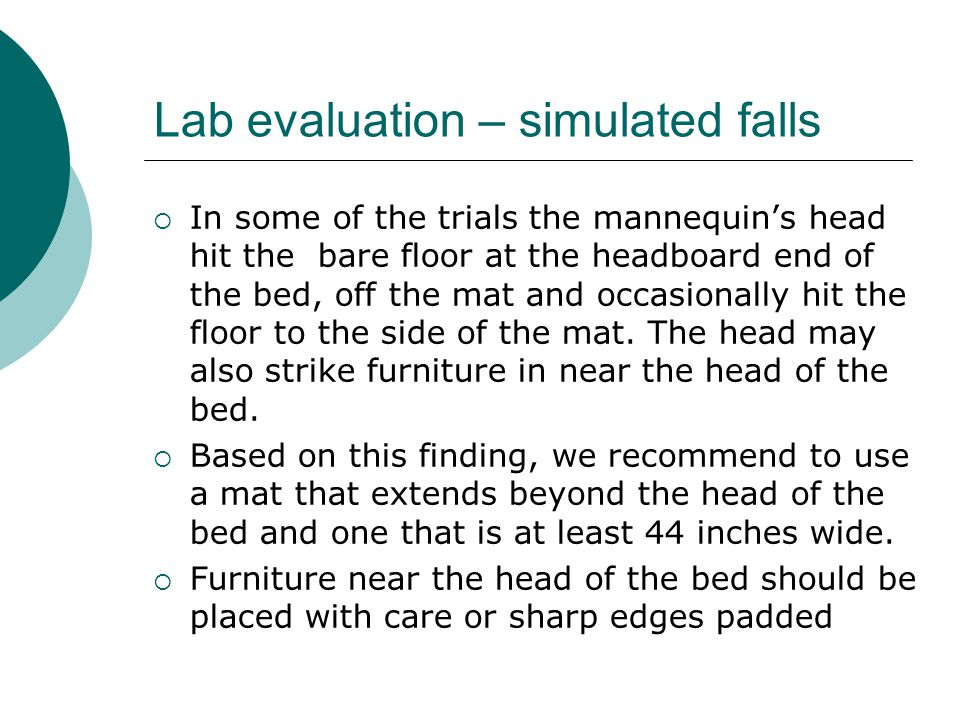 Lab evaluation – simulated falls  In some of the trials the mannequin's head hit the bare floor at the headboard end of the bed, off the mat and occasionally hit the floor to the side of the mat.