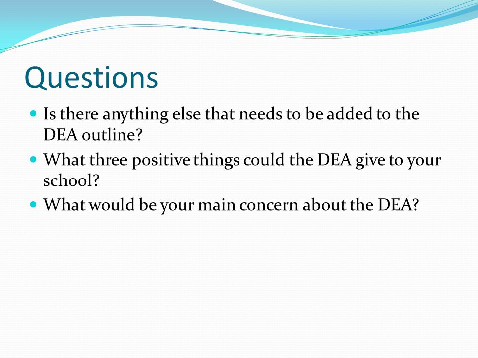 Questions Is there anything else that needs to be added to the DEA outline.