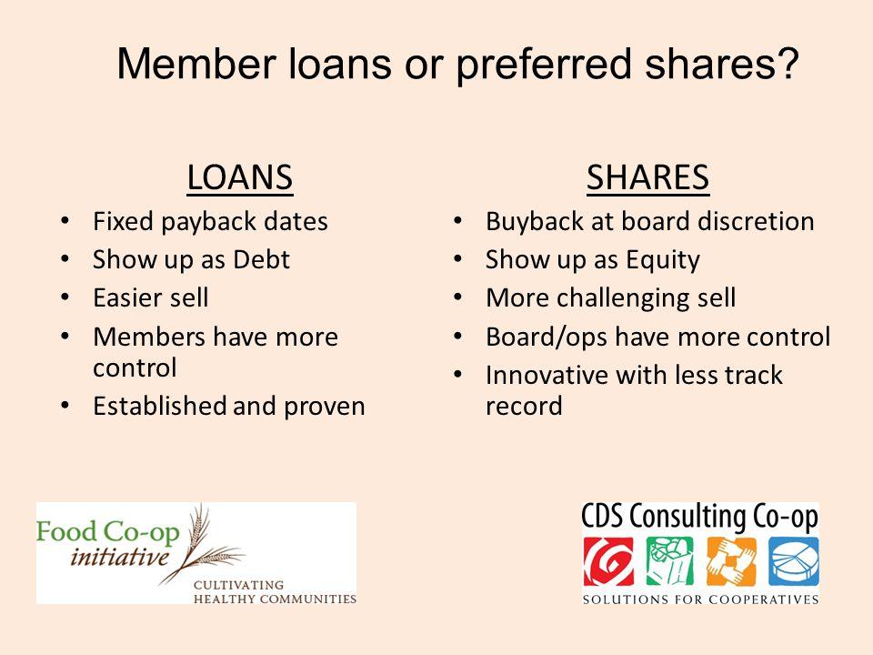 Member loans or preferred shares.