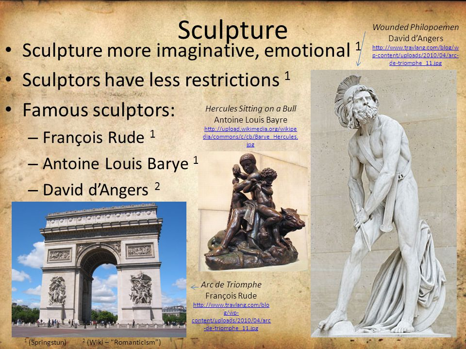 Sculpture Sculpture more imaginative, emotional 1 Sculptors have less restrictions 1 Famous sculptors: – François Rude 1 – Antoine Louis Barye 1 – David d'Angers 2 Arc de Triomphe François Rude http://www.travlang.com/blo g/wp- content/uploads/2010/04/arc -de-triomphe_11.jpg Wounded Philopoemen David d'Angers http://www.travlang.com/blog/w p-content/uploads/2010/04/arc- de-triomphe_11.jpg Hercules Sitting on a Bull Antoine Louis Bayre http://upload.wikimedia.org/wikipe dia/commons/c/cb/Barye_Hercules.