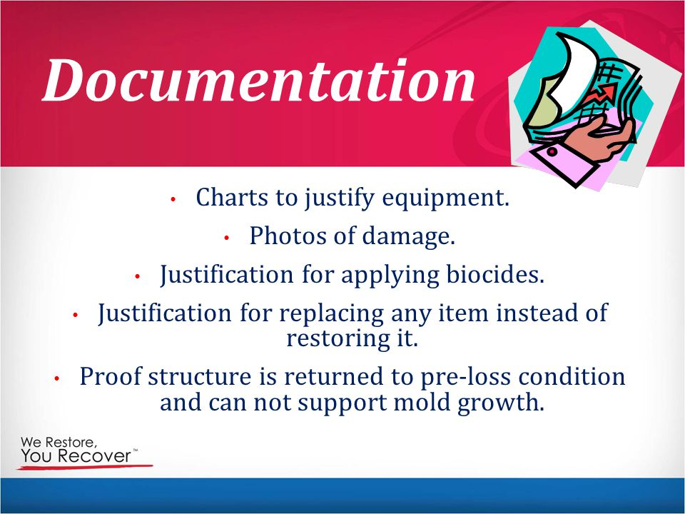 Documentation Charts to justify equipment.Photos of damage.