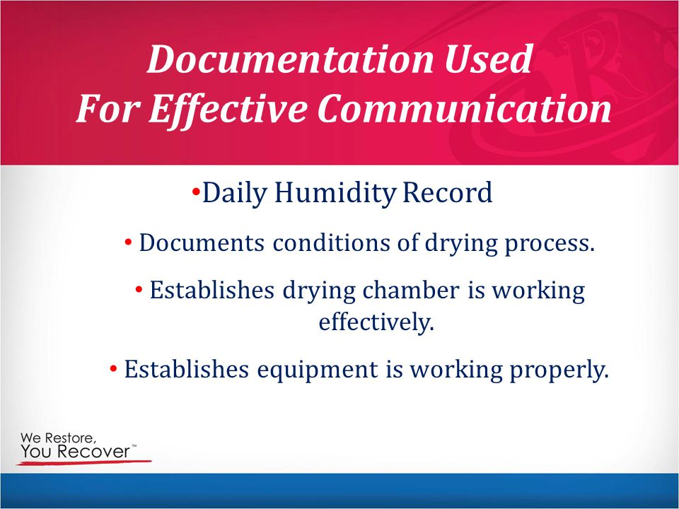 Documentation Used For Effective Communication Daily Humidity Record Documents conditions of drying process.