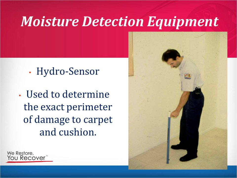 Moisture Detection Equipment Hydro-Sensor Used to determine the exact perimeter of damage to carpet and cushion.