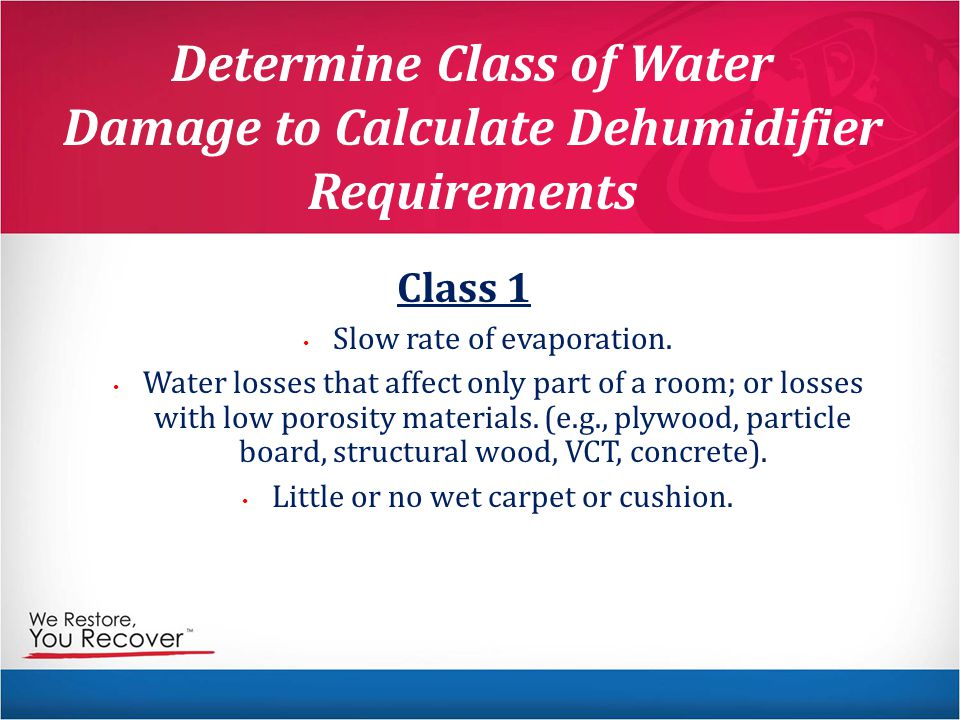 Determine Class of Water Damage to Calculate Dehumidifier Requirements Class 1 Slow rate of evaporation.