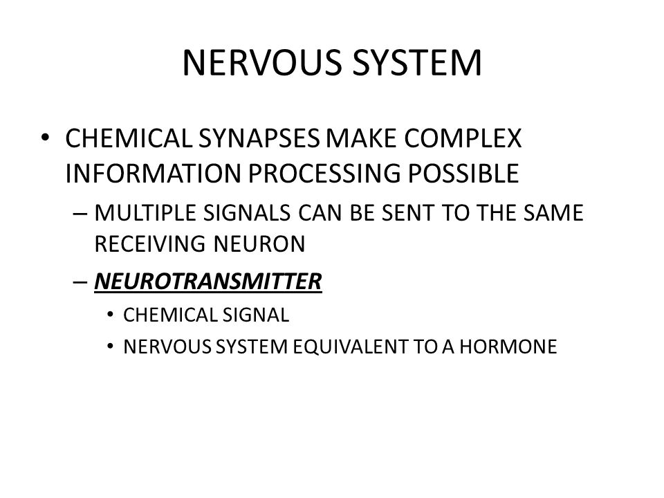 NERVOUS SYSTEM CHEMICAL SYNAPSES MAKE COMPLEX INFORMATION PROCESSING POSSIBLE – MULTIPLE SIGNALS CAN BE SENT TO THE SAME RECEIVING NEURON – NEUROTRANS