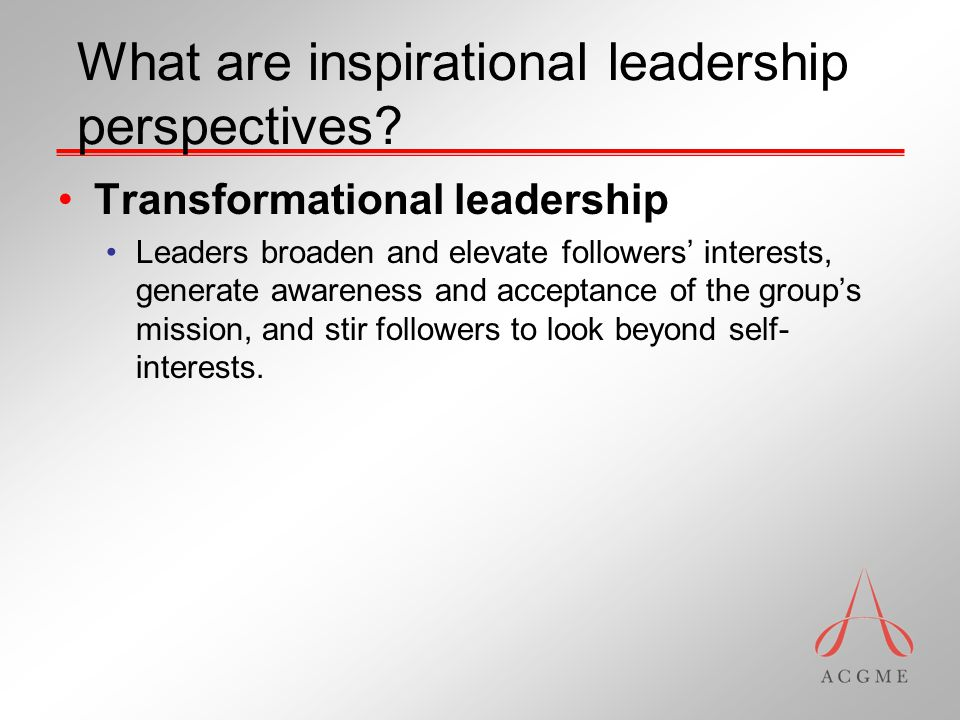 What are inspirational leadership perspectives.