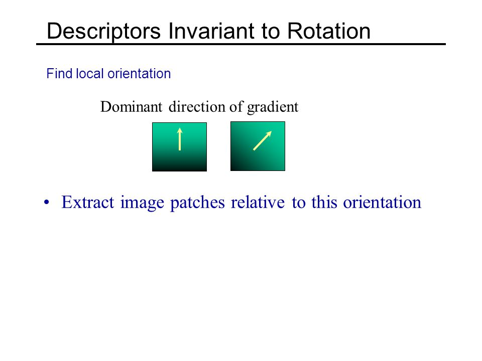 Descriptors Invariant to Rotation Find local orientation Dominant direction of gradient Extract image patches relative to this orientation
