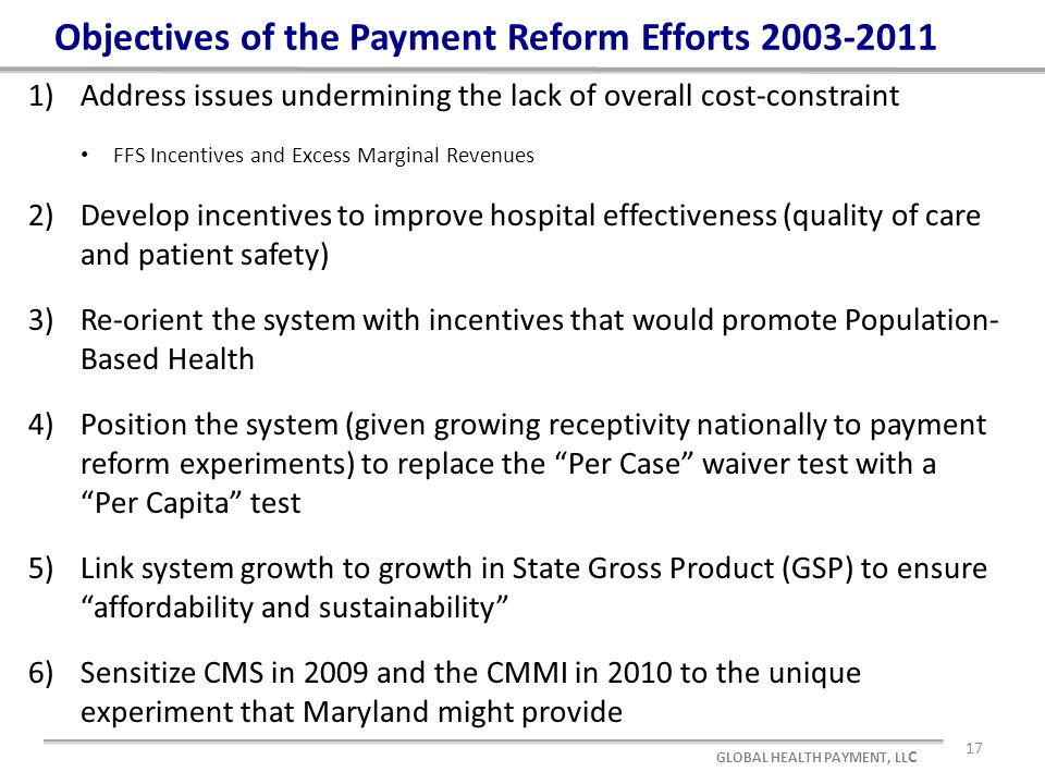 Objectives of the Payment Reform Efforts 2003-2011 1)Address issues undermining the lack of overall cost-constraint FFS Incentives and Excess Marginal