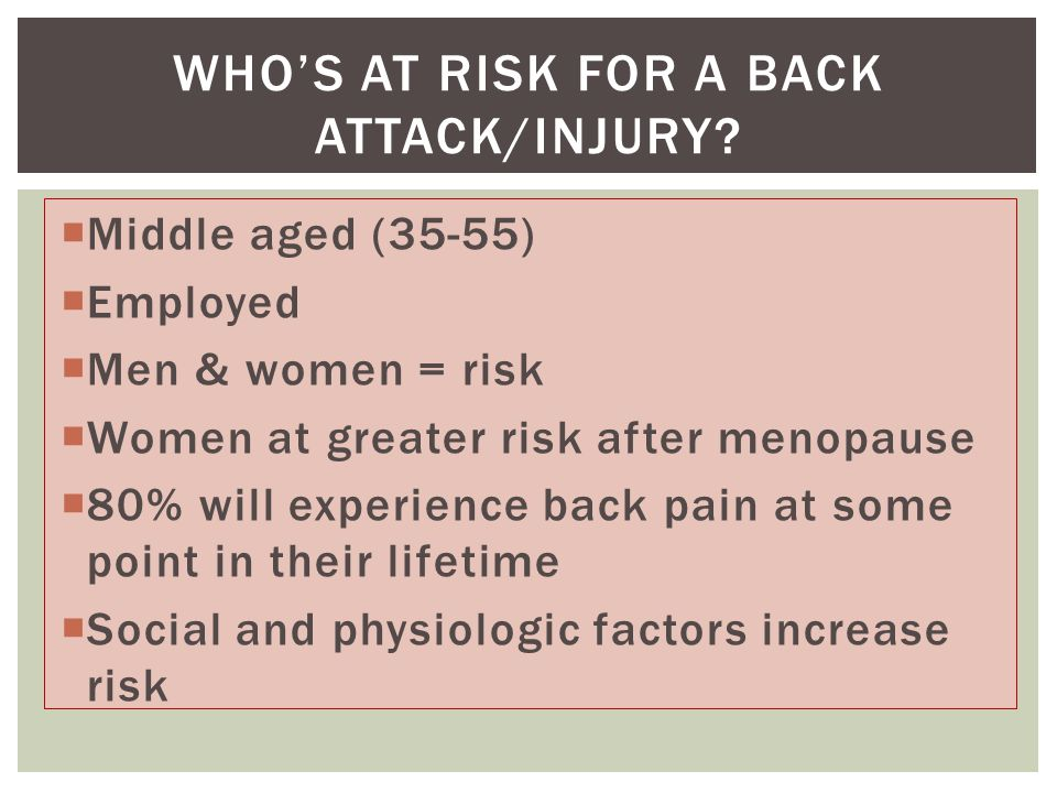  Middle aged (35-55)  Employed  Men & women = risk  Women at greater risk after menopause  80% will experience back pain at some point in their lifetime  Social and physiologic factors increase risk WHO'S AT RISK FOR A BACK ATTACK/INJURY?