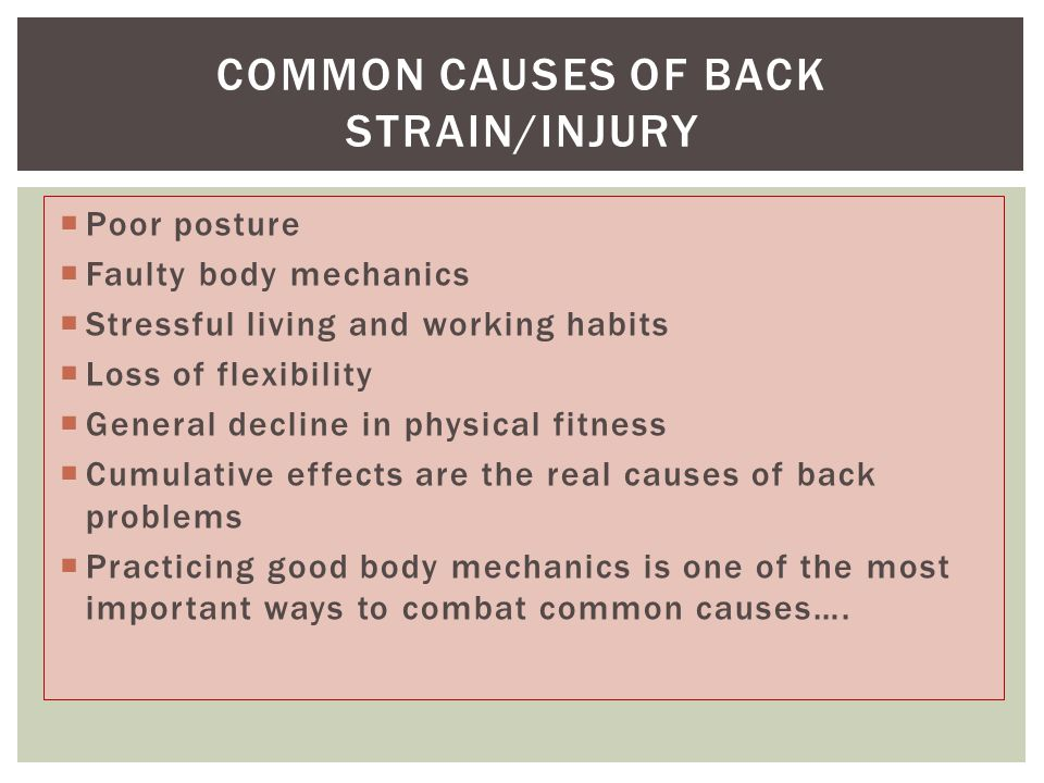  Poor posture  Faulty body mechanics  Stressful living and working habits  Loss of flexibility  General decline in physical fitness  Cumulative effects are the real causes of back problems  Practicing good body mechanics is one of the most important ways to combat common causes….