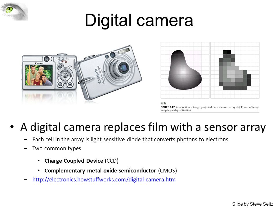 Digital camera A digital camera replaces film with a sensor array – Each cell in the array is light-sensitive diode that converts photons to electrons – Two common types Charge Coupled Device (CCD) Complementary metal oxide semiconductor (CMOS) – http://electronics.howstuffworks.com/digital-camera.htm http://electronics.howstuffworks.com/digital-camera.htm Slide by Steve Seitz