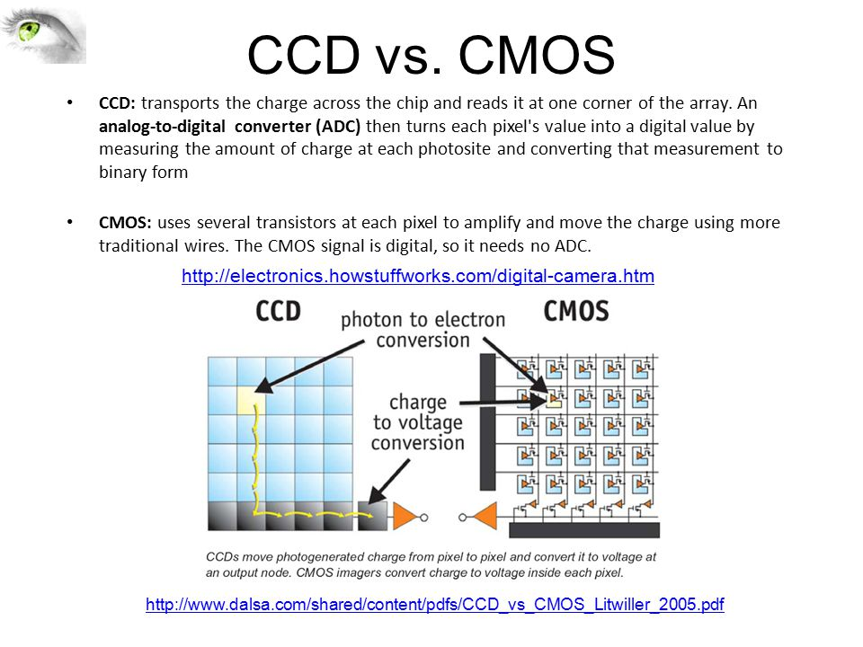 CCD vs. CMOS CCD: transports the charge across the chip and reads it at one corner of the array.