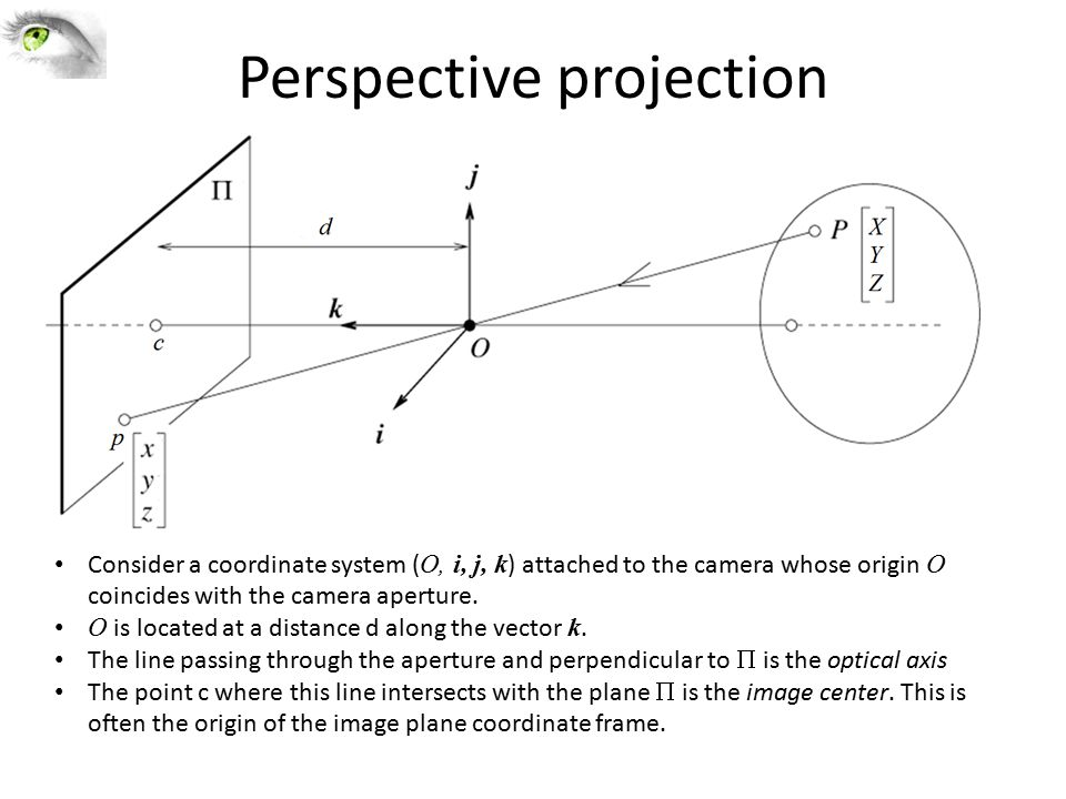 Perspective projection Consider a coordinate system ( O, i, j, k ) attached to the camera whose origin O coincides with the camera aperture.