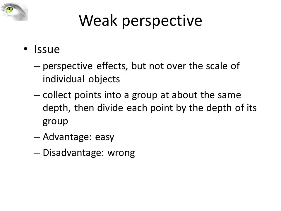 Issue – perspective effects, but not over the scale of individual objects – collect points into a group at about the same depth, then divide each point by the depth of its group – Advantage: easy – Disadvantage: wrong