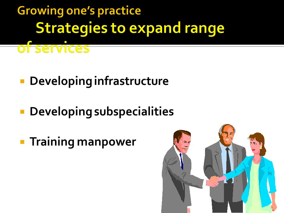  Developing infrastructure  Developing subspecialities  Training manpower