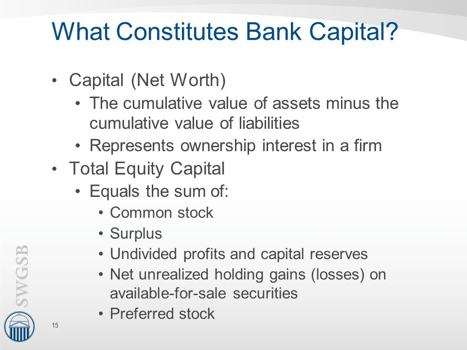 What Constitutes Bank Capital? Capital (Net Worth) The cumulative value of assets minus the cumulative value of liabilities Represents ownership inter