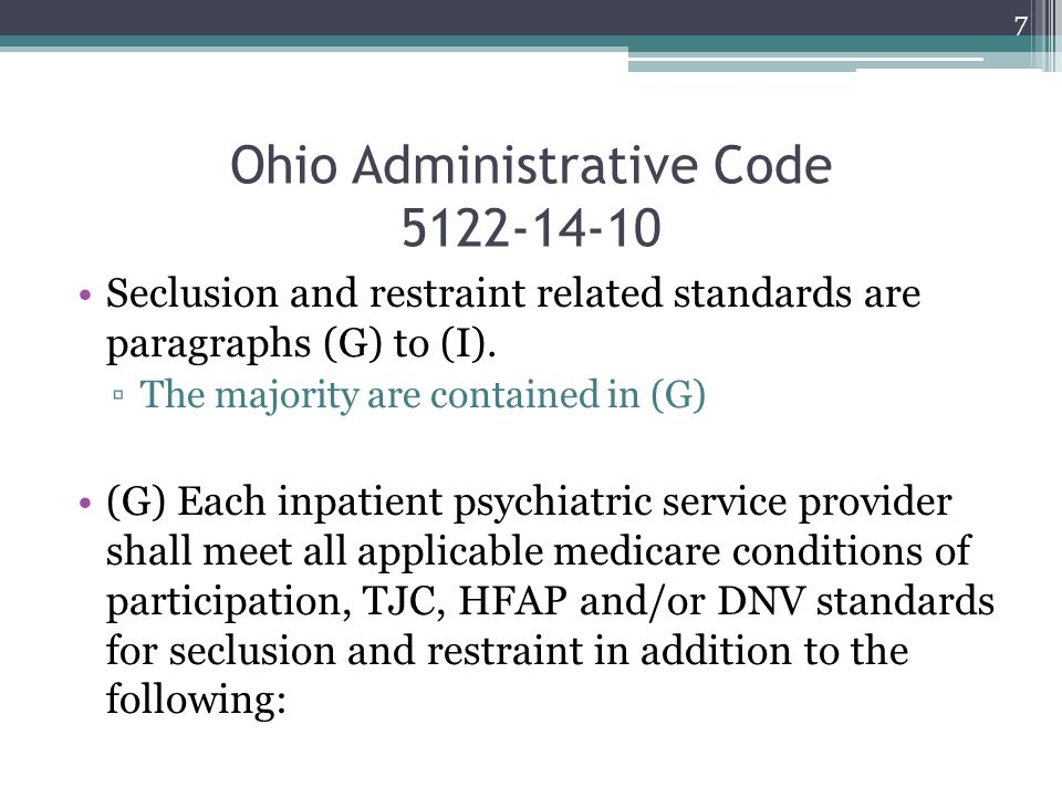 ODMH Needs to Correct (G)(3)(e) Repeats (G)(3)(c) Original intent was staff trained in identification of risk factors in paragraph (G)(5) of the rule Suggestion (not a requirement unless rule is changed) that staff receive some training ▫Health and Safety ▫Look at accrediting body requirements 28