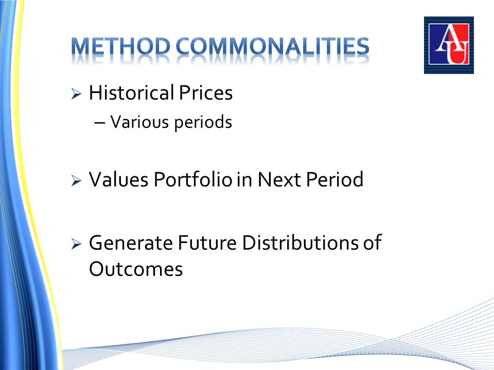  Historical Prices – Various periods  Values Portfolio in Next Period  Generate Future Distributions of Outcomes