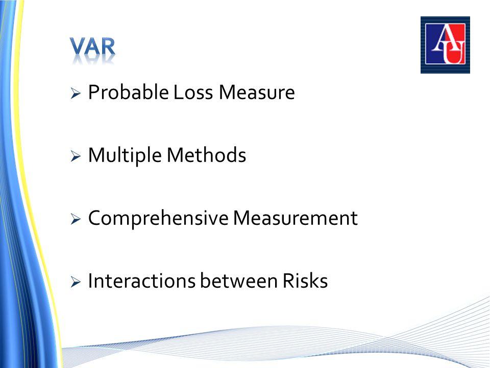 Probable Loss Measure  Multiple Methods  Comprehensive Measurement  Interactions between Risks
