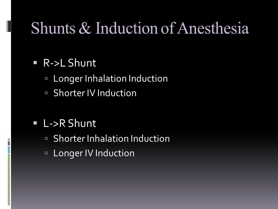 Shunts & Induction of Anesthesia  R->L Shunt  Longer Inhalation Induction  Shorter IV Induction  L->R Shunt  Shorter Inhalation Induction  Longer IV Induction