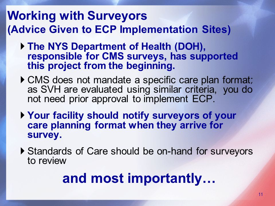  The NYS Department of Health (DOH), responsible for CMS surveys, has supported this project from the beginning.