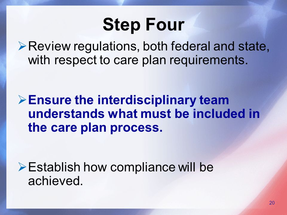  Review regulations, both federal and state, with respect to care plan requirements.